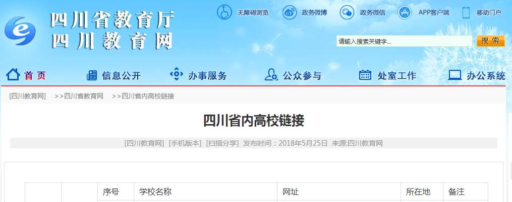 四川省教育厅发布省内120所高校名称、官网链接、所在地明细表