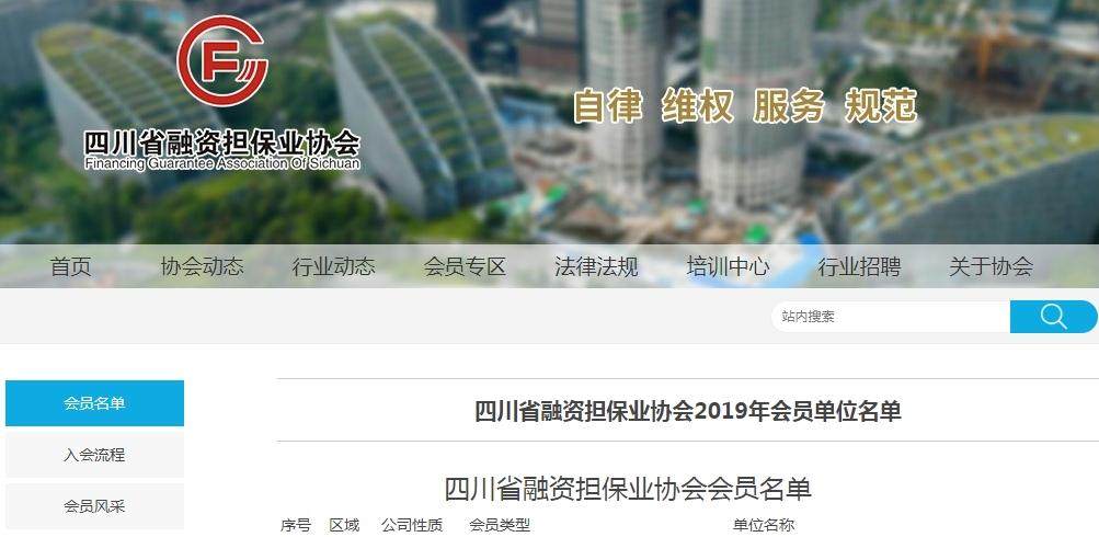 四川省融资担保业协会2019年会员单位名单109家